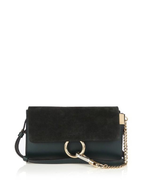 the description of a dark suede leather duffel bag