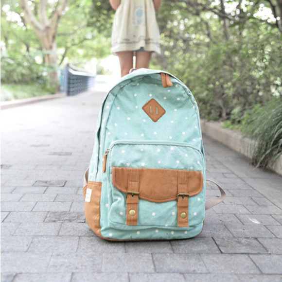 bag polka dots baby blue backpack back to school backpack girly mint