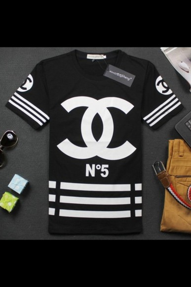 t-shirt black shirt white chanel chanel shirt polo