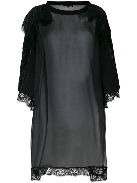 Amen blouse sheer women embellished cotton black silk top