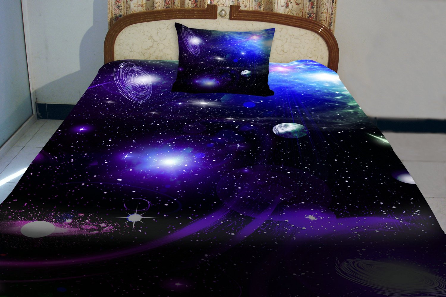 Anlye purple blue teen galaxy bedding designing set 2 sides printing out space quilt coverlet dark out space bed sheets with 2 decor pillow covers queen