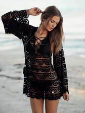 swimwear,beach,cover up,pily q 2014,bikini,summer,clothes,fashion,black tunic