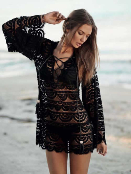 swimwear beach cover up pily q 2014 bikini summer clothes fashion beach black tunic