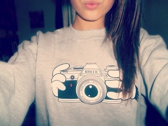 sweater camera mickey mouse hands grey shirt disney blouse hot new flowers style girt kiss cheese smile moustache baked focus grey sweater t-shirt it's gray there's a camera and two hands holding the camera
