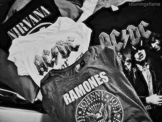 t-shirt shirt ac dc tank top fashion metal grey shirt nirvana ramones band t-shirt gloves cardigan sweater black
