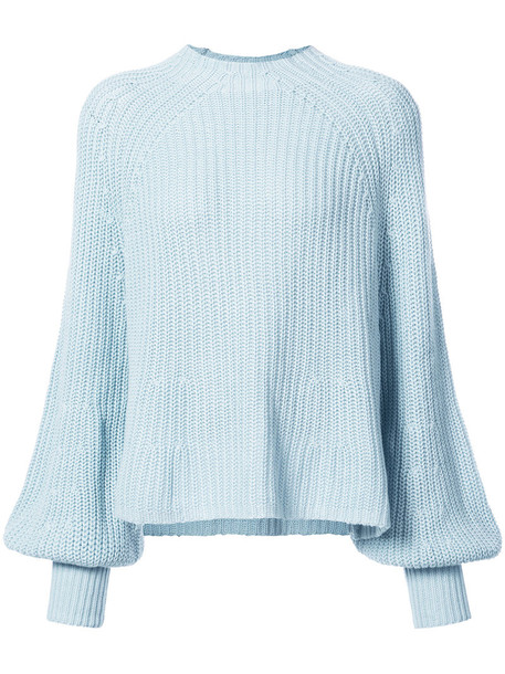 jumper oversized women cotton blue silk sweater