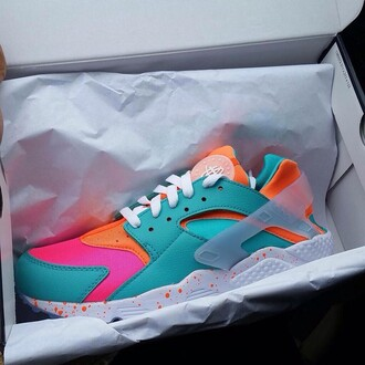 shoes nike huarache neon bright sneakers chic swag summer dope nike sneakers urban girly