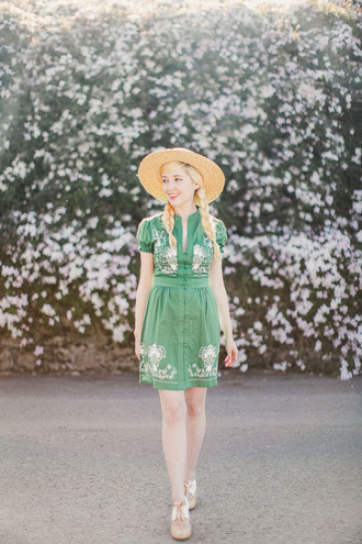 the clothes blogger hat dress shoes bag green dress straw hat button up floral dress wedges summer dress