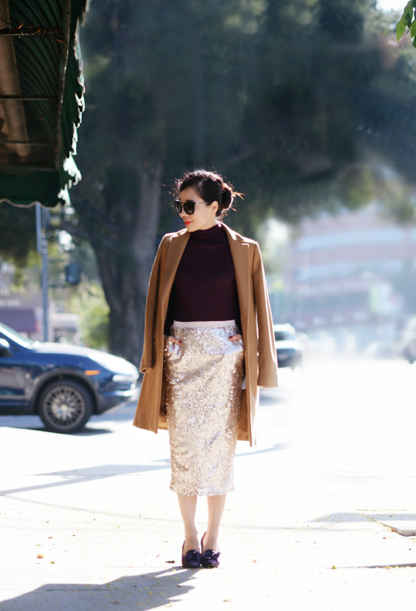 hallie daily blogger sunglasses turtleneck burgundy camel sequins