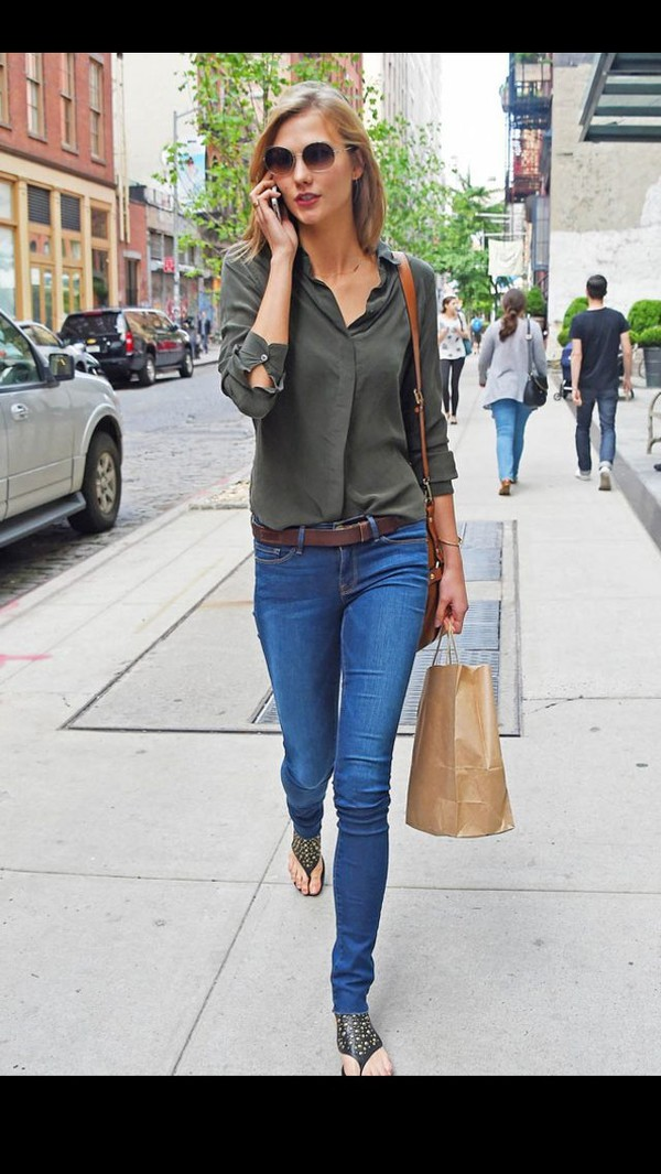blouse karlie kloss shoes jeans pants leggings jeggings