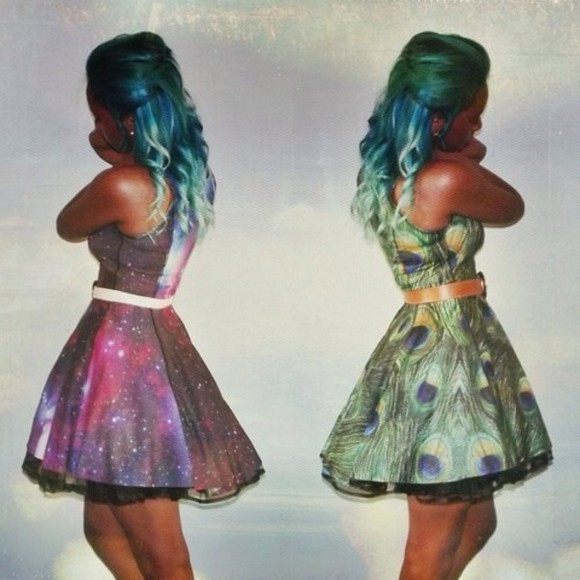 galaxy peacock dress green cute cute dress blue pink prom dress prom dresses peacock dress short prom flowy short prom dress purple blue green