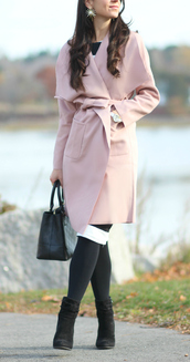 diary of a debutante,blogger,coat,dress,tights,shoes,bag,jewels,pink coat,fall outfits,ankle boots,handbag