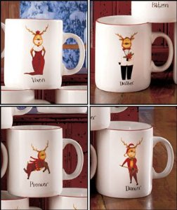 Amazon.com: set of 4 reindeer mugs: kitchen & dining