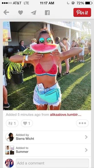 swimwear watermelon print trendy style bikini top crochet crochet bikini cute hippie girly sunglasses