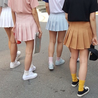 skirt tennis skirt shirt blue white pink orange socks yellow black bag clutch hat snapback