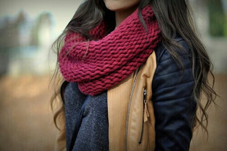 scarf red scarf knitted scarf infinity scarf