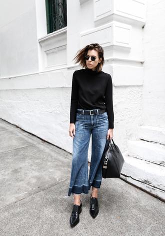 modern legacy blogger jeans top belt shoes bag sunglasses