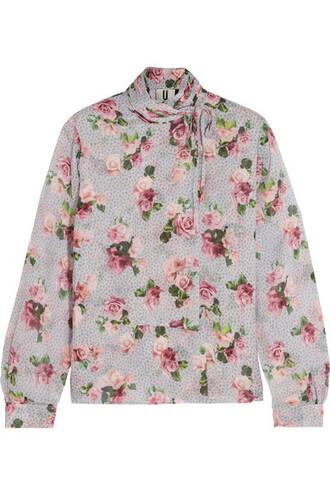 blouse pastel draped floral print silk pink pastel pink top