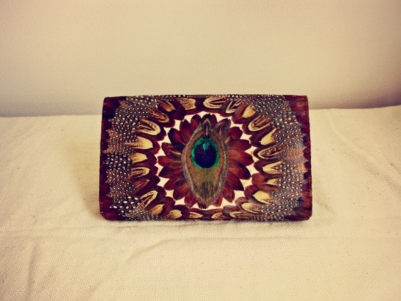 Peacock feather clutch by gypsiithrift on etsy