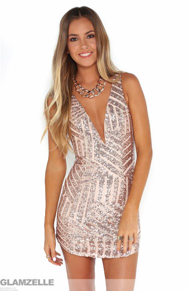 """plunging adventure"" gold rose sequin bodycon dress – glamzelle"