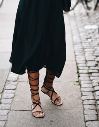 shoes lace up sandals cute summer spring black strings dress black midi dress midi dress black dress long sleeves long sleeve dress streetstyle bag black bag sunglasses aviator sunglasses sandals flat sandals black sandals gladiators knee high gladiator sandals all black everything