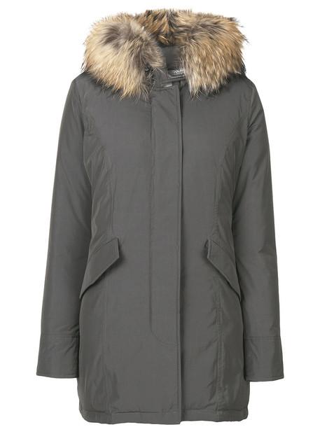 Woolrich coat feathers fur women midi grey
