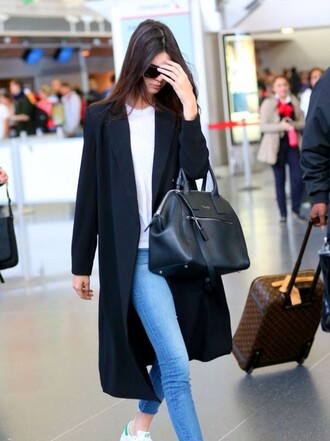 coat kendall jenner white kendall jenner black black jeans style bag designer bag white blue light blue jeans shoes streetwear victoria's secret victoria's secret model airport style