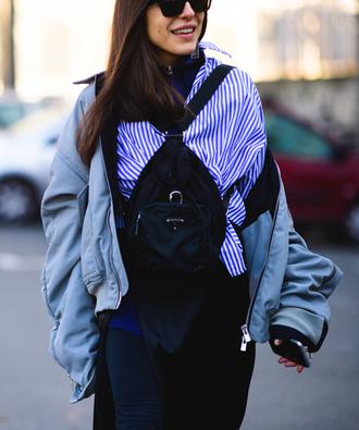 bag tumblr black backpack shirt stripes striped shirt jacket grey jacket bomber jacket grey bomber jacket leggings black leggings sunglasses fashion week 2017 streetstyle