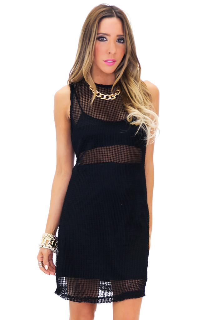 HECKFORD MESH MINI DRESS - Black | Haute & Rebellious