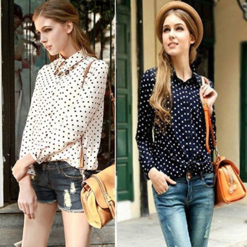 Details about 2013 White Navy Women Shirt Polka Dots Chiffon Vintage Blouse Long Sleeve S XXL-in T-Shirts from Apparel & Accessories on Aliexpress.com