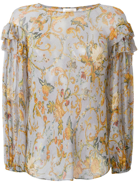 Zimmermann blouse women floral print blue silk top