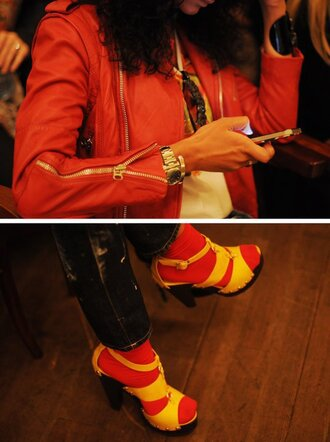 shoes red sock red jacket yellow shoes