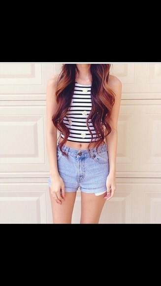 striped skirt top floral cropped
