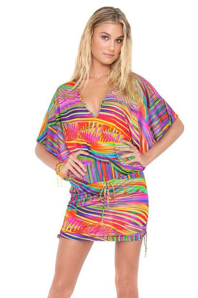 dress v-neck line luli fama print cover up bikiniluxe