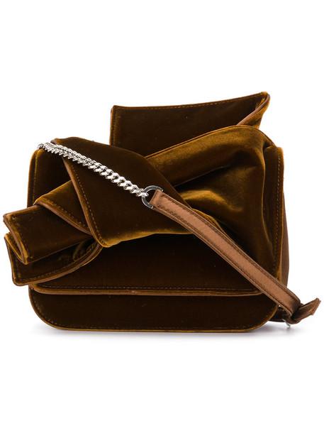 bow women bag shoulder bag silk brown