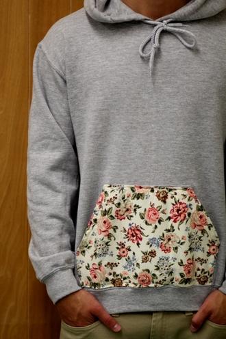 sweater hoodie flowers grey jacket floral pattern hoddie jumper grey flower