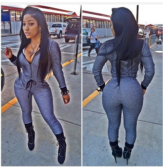 jumpsuit bodysuit outfit romper one piece high heels black heels accessories no more than 4.5 inches shoes