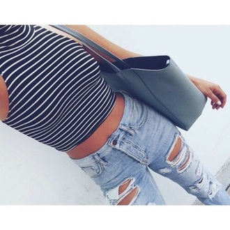 top black tumblr pretty summer bag striped top blue shirt jeans striped shirt striped crop top tank top turtleneck