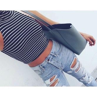 top black tumblr pretty summer bag striped top blue shirt jeans striped shirt striped crop top tank top turtleneck