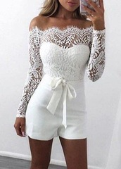 dress,white,jumpsuit,long sleeves,white lace playsuit,white jumpsuit,romper