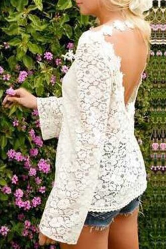 top lace open back fashion style summer spring white cute girly casual long sleeves feminine trendy floral sexy stylish
