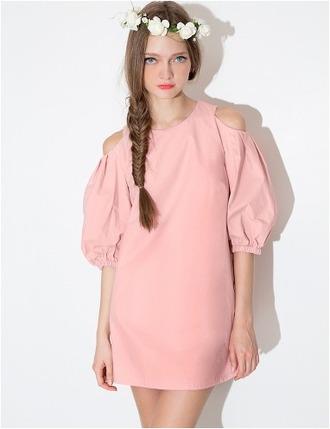 dress blush dress blush cut out dress cut out cute puff sleeves summer dress spring dress shift dress pixie market pixie market girl