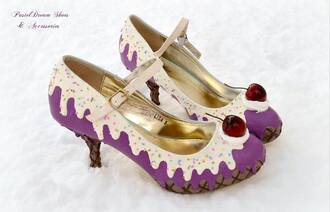 shoes kawaii lolita original handmade cake cherry harajuku