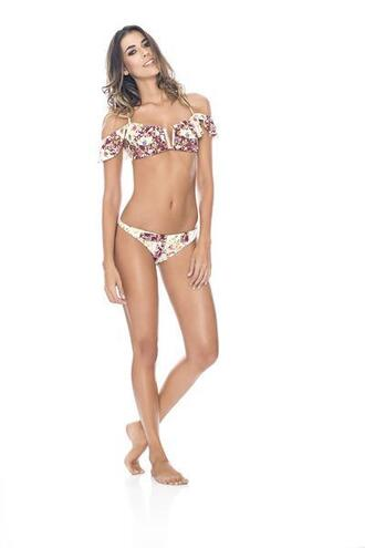 swimwear bikini agua bendita cheeky floral halter top print bikiniluxe