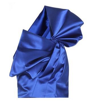 blouse silk satin blue top