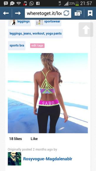 racerback neon geometric crop tops sports bra