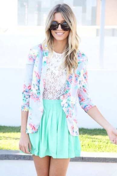 girly cute skirt floral weheartit outfit jacket neon