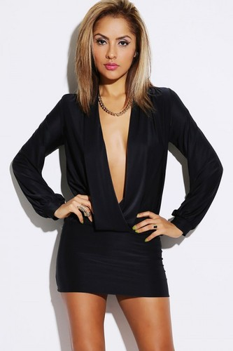 All Eyes On Me Deep V Banded Mini Dress - JuJu's Closet