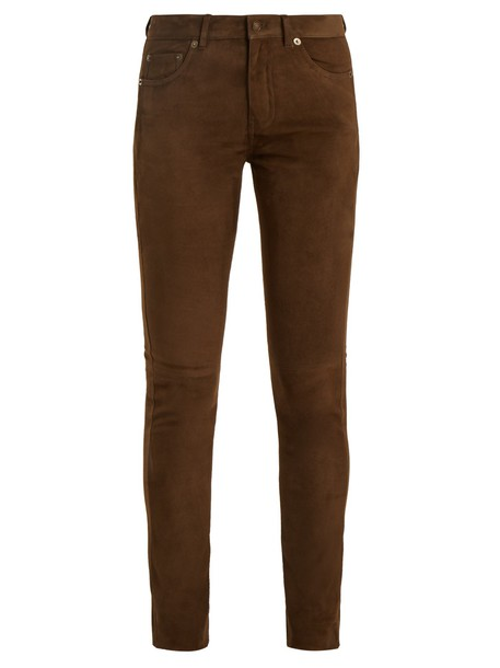 Saint Laurent suede khaki pants