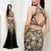 dress,jasz couture,prom dress,lace dress,gold dress